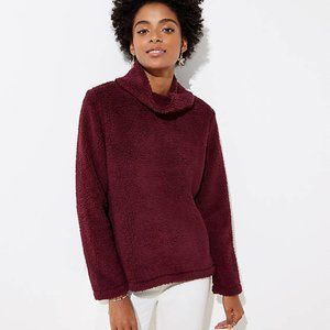 NWT LOFT Women's Fleece Cowl Neck Top